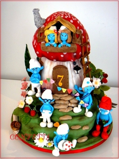 Happy Smurfday! By confetti_jeddah on CakeCentral.com