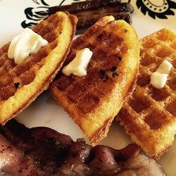 Cornbread meet waffle - a savory waffle which would be great topped with cheese, picante and eggs; or even chili if you want to get your lunch/dinner on! Gritty Waffles Allrecipes.com
