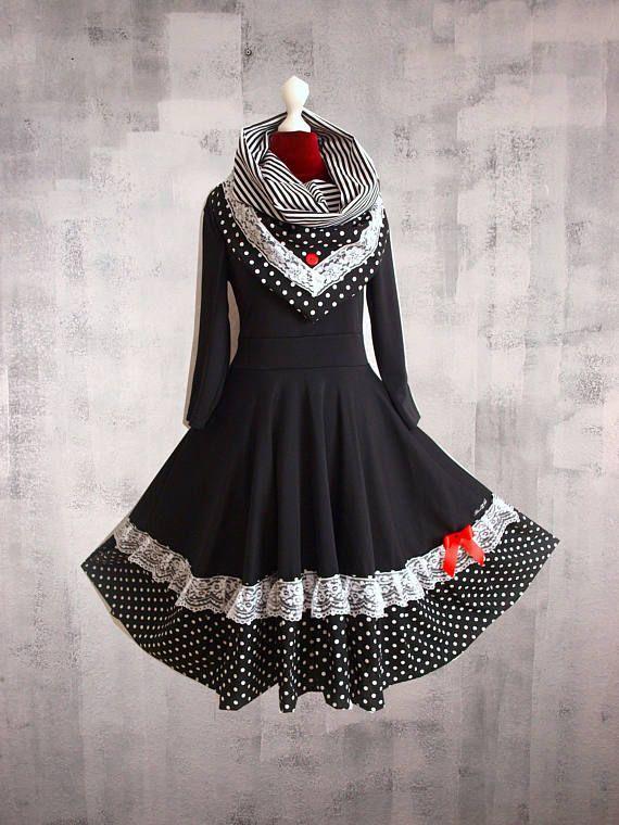 S M L Petticoat Kragen Kleid Swing Spitze Pinup Schwarz
