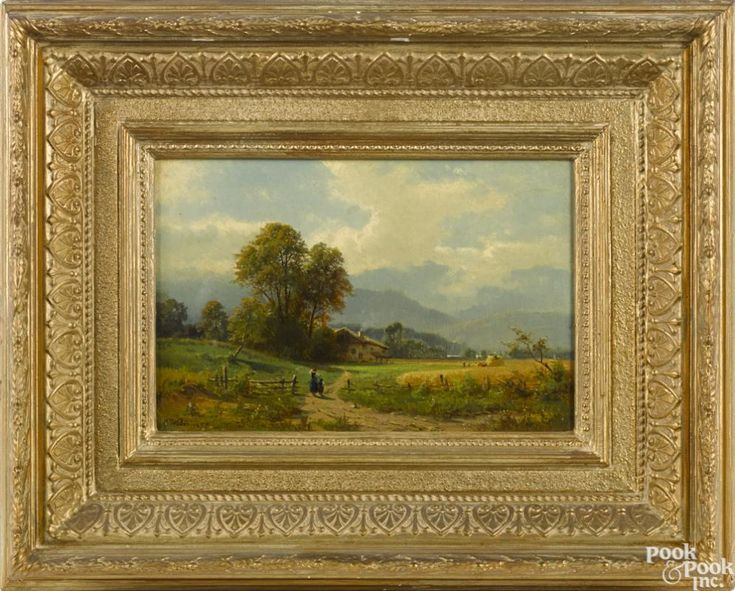 Carl C. Weber (American 1850-1921), oil on canvas landscape, with figures walking toward a cottage - Price Estimate: $400 - $700