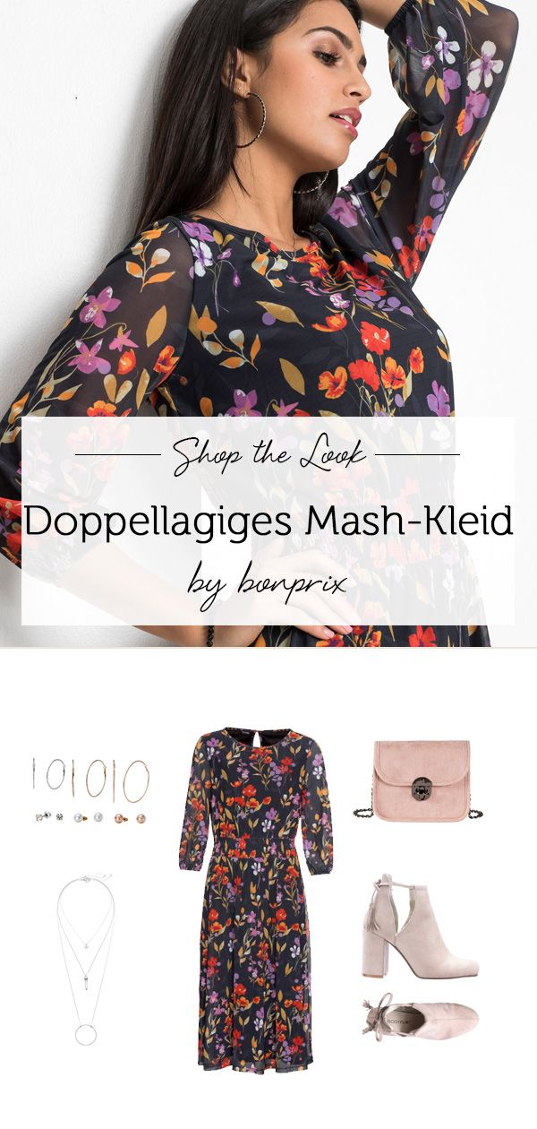3d33a7d0e9e619 Doppellagiges Mesh-Kleid schwarz bedruckt - BODYFLIRT jetzt im Online Shop  von bonprix.de ab € 14,99 bestellen. Mit einem auffallenden Alloverprint  und .