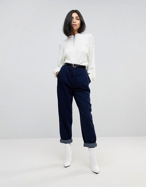 ASOS Tapered Jeans with Curved Seams and Belt in Indigo Wash