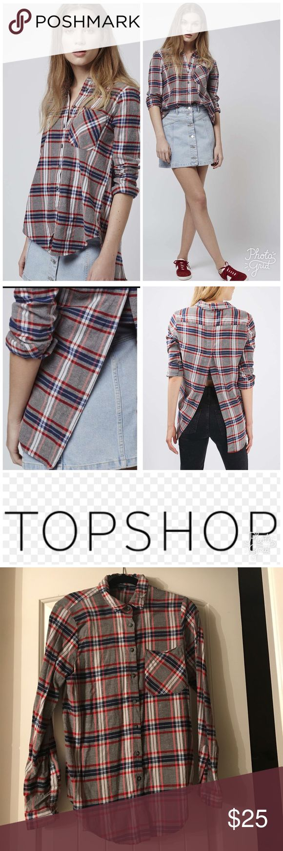 Topshop Tartan Winnie Shirt - US size 6 Get a classic look for now with this grey check tartan winnie shirt. Very chic with a cigarette trouser and ballerina flats. Machine wash. Topshop Tops Button Down Shirts