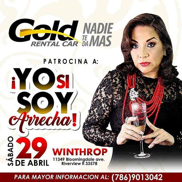 ¡ATENCIÓN! Este 29 de abril no puedes dejar de ir a #Tampa a disfrutar del monólogo #YoSiSoyArrecha de la primera actriz venezolana @elbaescobar Te esperamos. #NadieTeDaMás ���� ----------------------------------- www.goldrentalcarmiami.com USA: 7868003560 - VEN: 212-720-43-50 - COL: 15082316 - BRA: 1141186227 - ARG: 1151990511  info@goldrentalcarmiami.com _________  #Alquiler #Autos #Car #Rental #RentalCar #Florida #Vacaciones #DriveWhitUs #Colombia #Argentina #Brasil #Panamá #Ecuador…