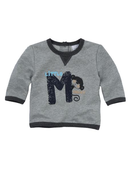 A cute option for your little one, this crew-neck sweatshirt has a Little Monkey print on the front with rib detailing, and buttons  on the back.