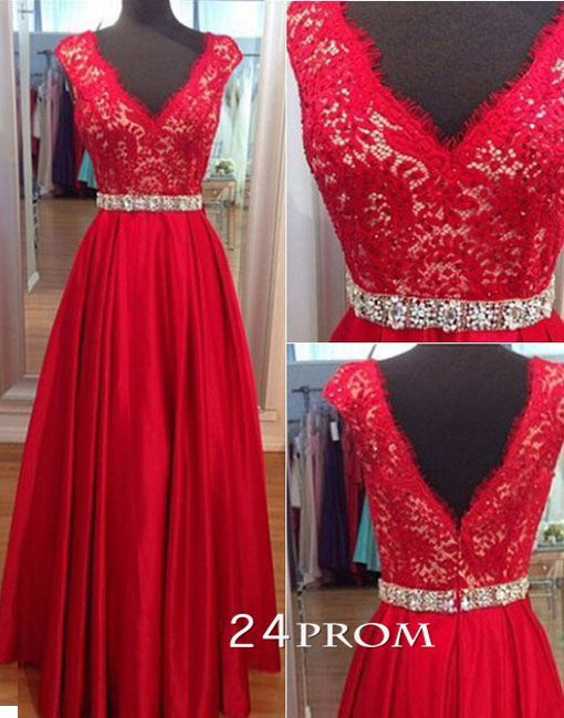 Red Sweetheart neckline Chiffon and Lace Long Prom Dresses