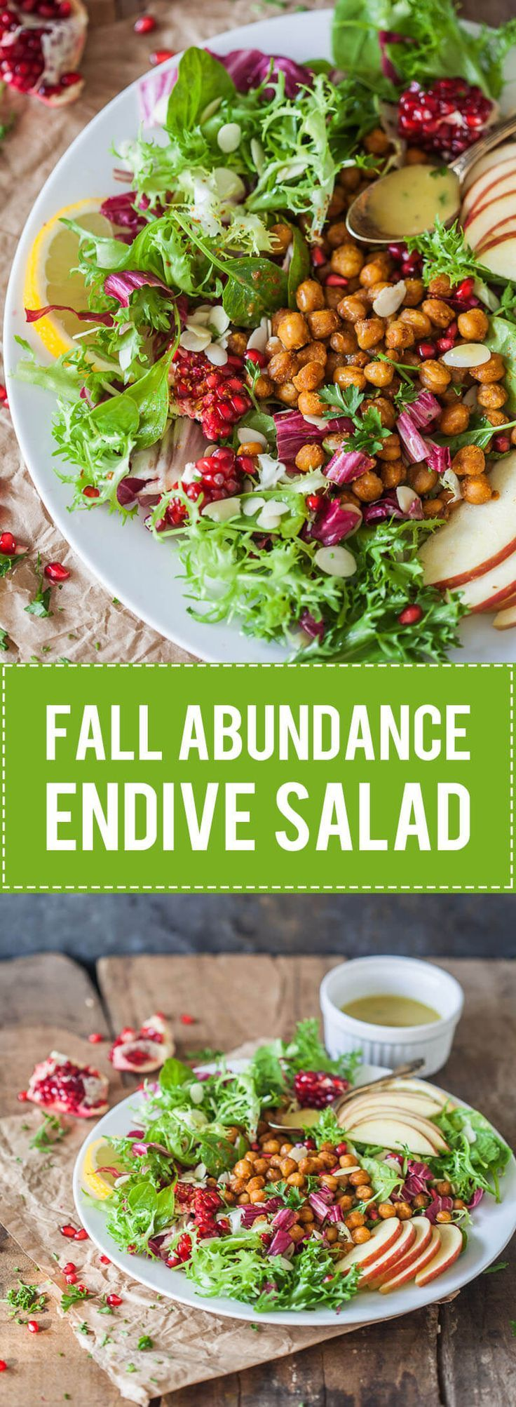 The Ultimate Fall Abundance Endive Salad is topped with Crispy Chickpeas, Apples & Mustard Vinaigrette. Vegan and Gluten-Free! #endive #salad #vegan #glutenfree
