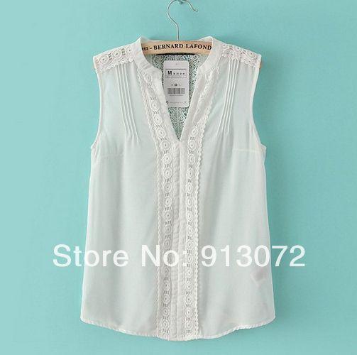 """Elegante rendas ST1885 Nova Moda Feminina """"emendados chiffon camisa branca camisa blusa sem mangas escritório senhora ocasional de design da marca fino $9.98"""