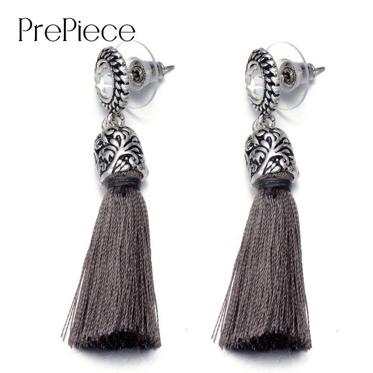 PrePiece Design Esculpido Brincos Anti-Banhado A prata Liga Fita Longo Dangle Tassel Brincos New Jóias Étnicas para Mulheres PE0273