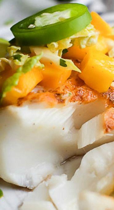 Grilled White Fish with Jalapeno Mango Coleslaw