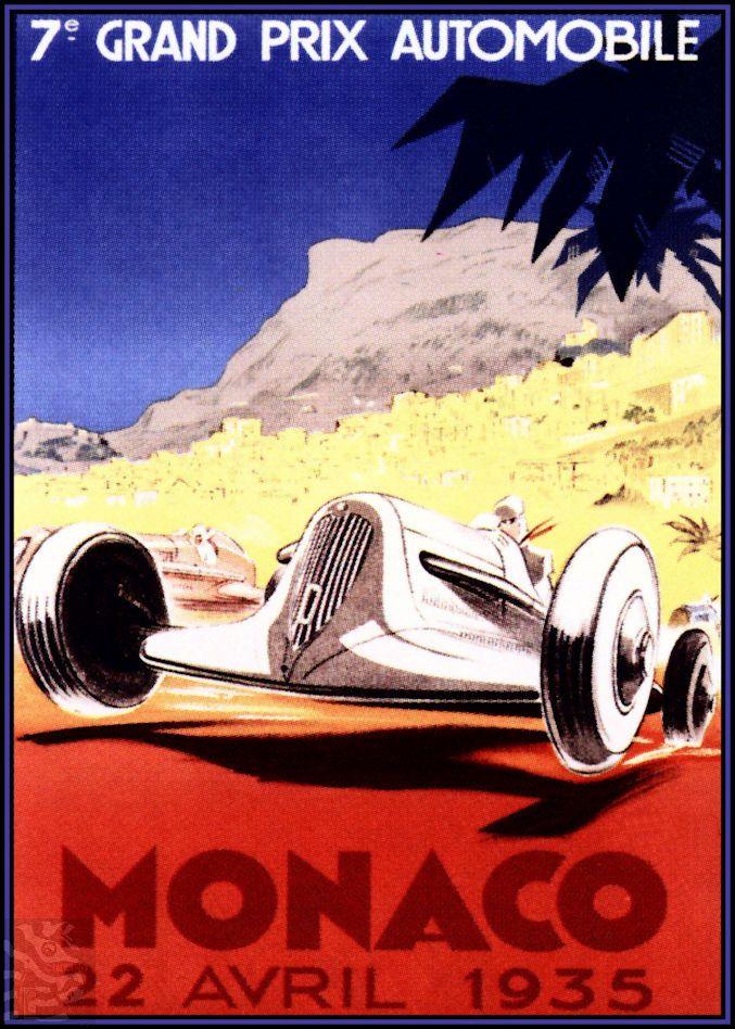 Monaco Grand Prix 1935 Vintage Poster Vintage Art Print Retro Style Vintage Car Auto Racing Advertising Free US Post Low EU post by VintagePosterPrints on Etsy