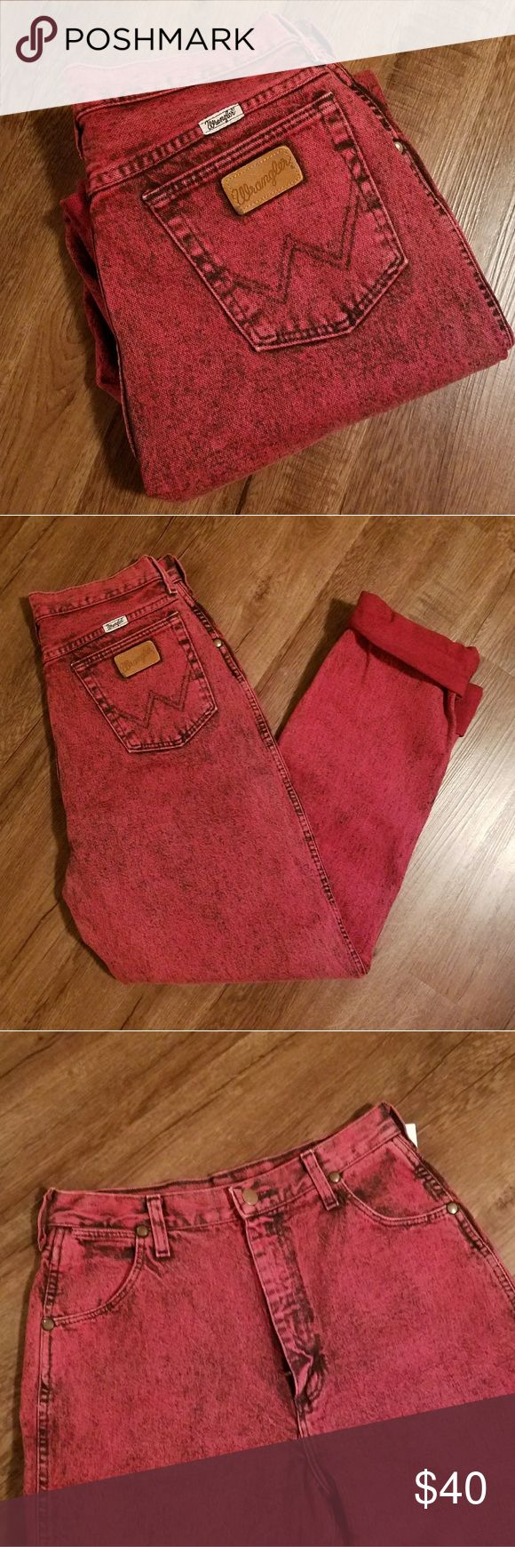 Vtg Wrangler High Waisted Mom Jeans Vintage High Waisted Mom Jeans Color Red  Amazing condition  28×34 I had them rolled twice to make the inseam 30. You could make them any length. Wrangler Pants Straight Leg