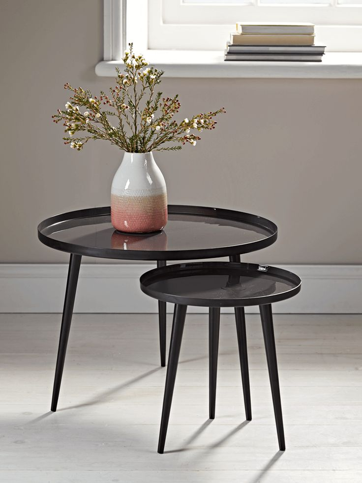 NEW Enamelled Tables - Charcoal