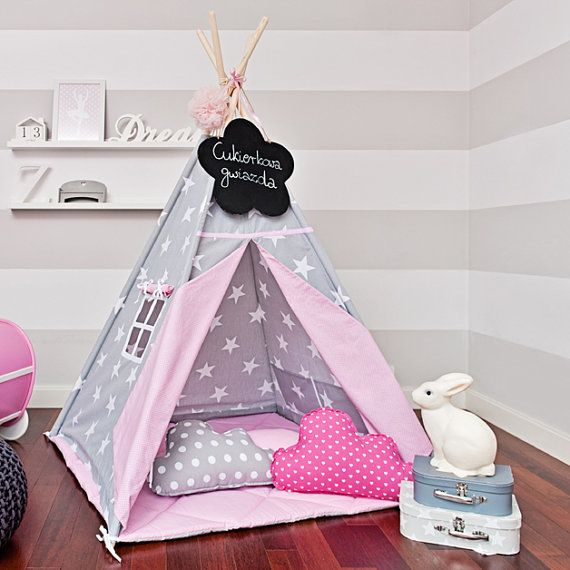 Teepee set with floor mat and pillows  Candy Star by FUNwithMUM