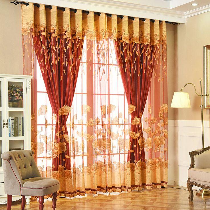 Landhaus Gardine Gelb Jacquard Lotus im Wohnzimmer (With