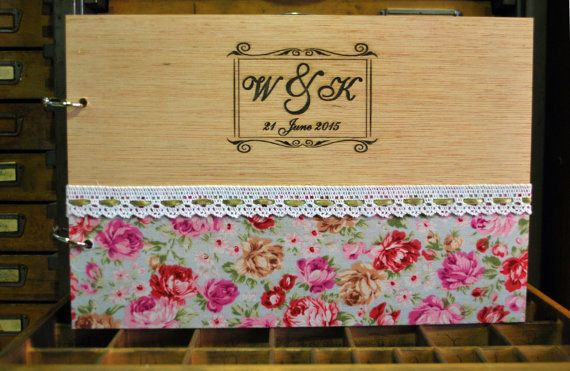 wood wedding guest book A4 engraved photo album by WoodYourDay