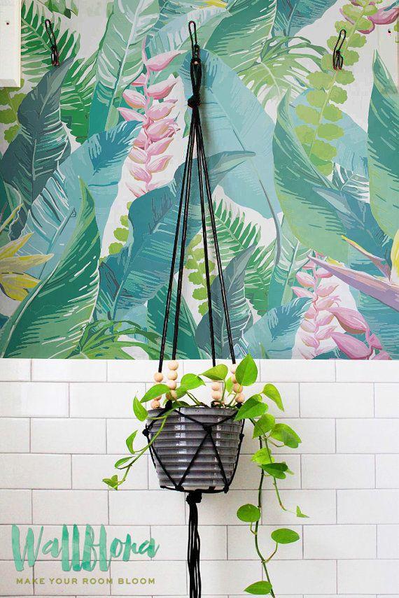CALATHEA hojas patrón papel pintado hojas de papel tapiz by WallfloraShop | Etsy