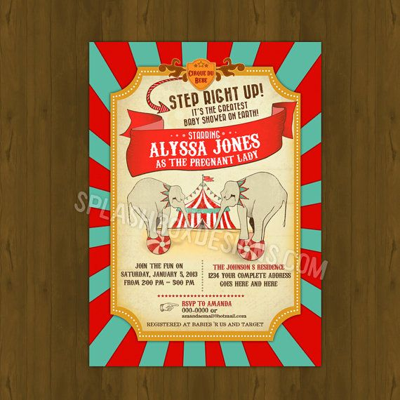 Circus Baby Shower invitation - Vintage Circus Baby Shower Printable Invitation - Retro Circus Elephant Big Top Baby shower invitation