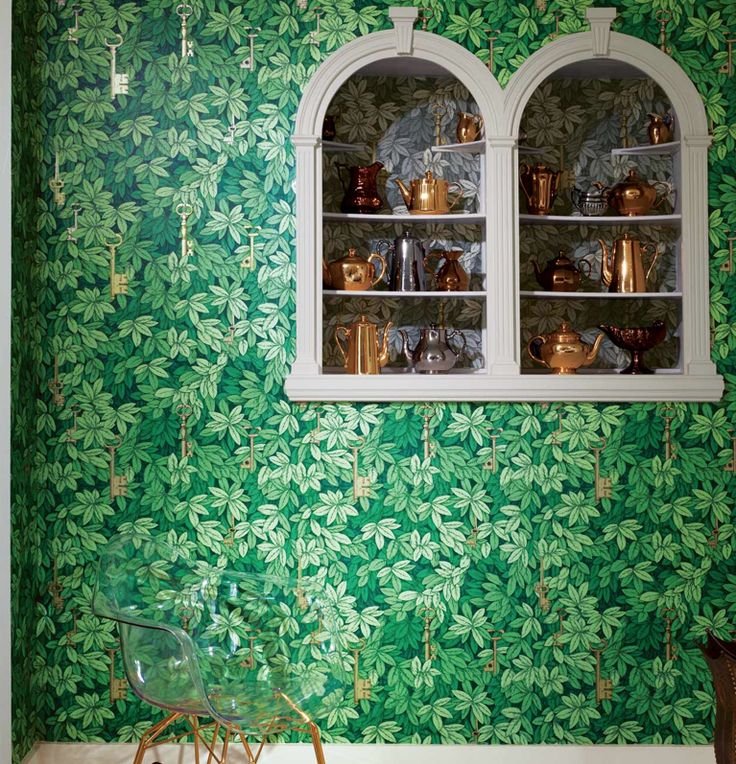 Buy Cole & Son Wallpaper in Australia Chiavi Segrete. 97/4014 from the Fornasetti II Collection. A pattern easily usable on four walls. Mysterious gold keys hanging within a dense privet hedge. Roll: 68.5cm x 10m Repeat: 57cm Straight Match