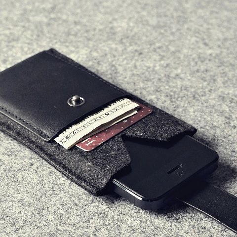 Charbonize Genuine Leather and Wool Felt wallet case for iPhone 5
