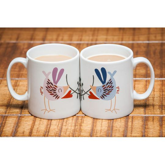 These Unique Personalised Mugs Feature A Beautifully Illustrated Love Bird With Name Of Your Choice BirdsWedding GiftsPersonalised