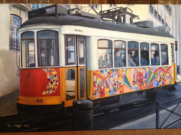 Lisbon Tram .. Bill Harris oil on linen 90 x60