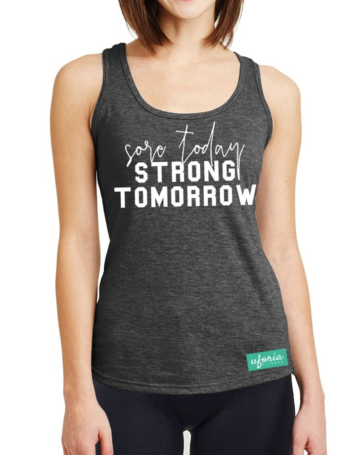 Sore Today Strong Tomorrow CHARCOAL Womens Gym Vest Gymwear Slogan Fitness Womens Ladies U50 by SaveThePeople2016 on Etsy