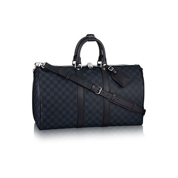 Keepall Bandoulière 45 Damier Cobalt Canvas ($1,720) ❤ liked on Polyvore featuring bags, lightweight travel bag, travel bag, canvas travel bag, lightweight bags and canvas bags