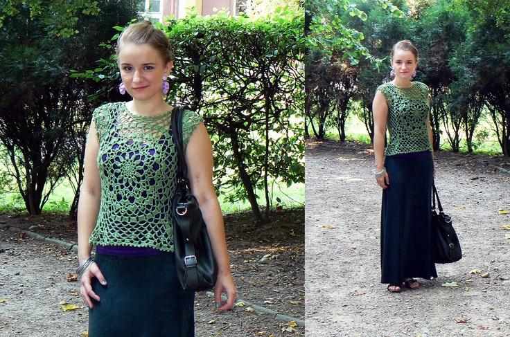 Green crochet top / vest.
