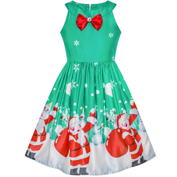 Sunny Fashion Robe Fille Noël Père Noël Neige Noël Partie Turquoise