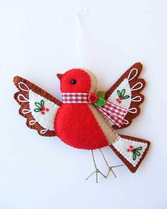 PDF pattern - Cute Christmas Robin - DIY embroidered Christmas tree ornament, easy sewing pattern