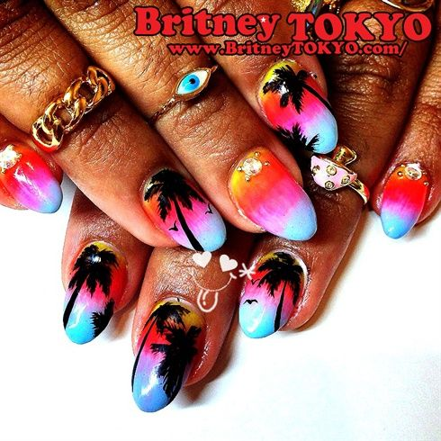 The California nail – shared by BritneyTOKYO on Nail Art Gallery