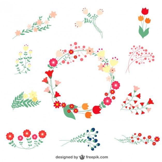 Elementos gráficos gratuitos florais Vetor grátis