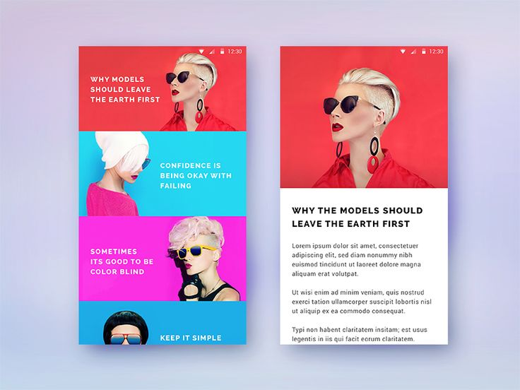 Material style articles & single article screen