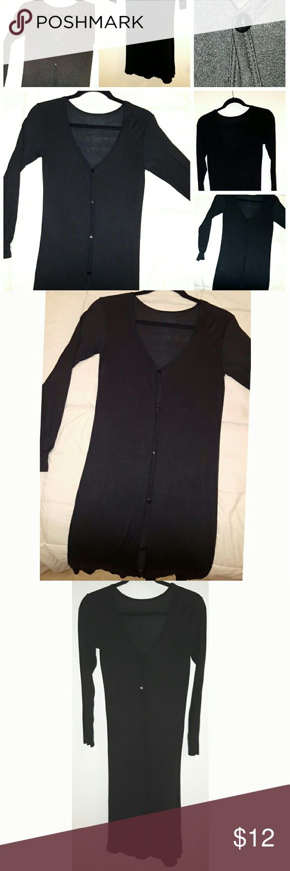 Black, Longline, Button Down Cardigan Long Black Cardigan Sweater Sweaters Cardigans