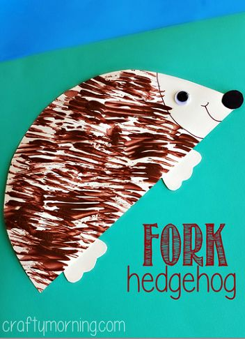 Hedgehog Craft Using a Fork - Such a cute art project!: Forks Crafts For Kids, Animal Activities For Kids, Animal Art Projects For Kids, Kidscraft Ideas, Crafty Mornings, Forks Paintings, Animal Crafts Preschool, Preschool Art For The Mittens, Hedgehogs Crafts For Kids
