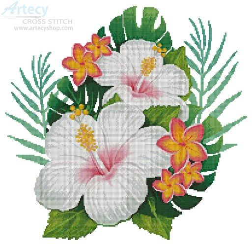 Artecy Cross Stitch. Hibiscus Arrangement 4 Cross Stitch Pattern to print online.