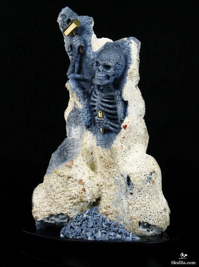 Blue Ridge Coral Crystal Skull Skeleton with 18K Gold Plated Sterling Silver Hammer and Chisel Sculpture