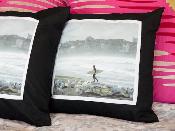 Surfer photographic cushion by freshdarling