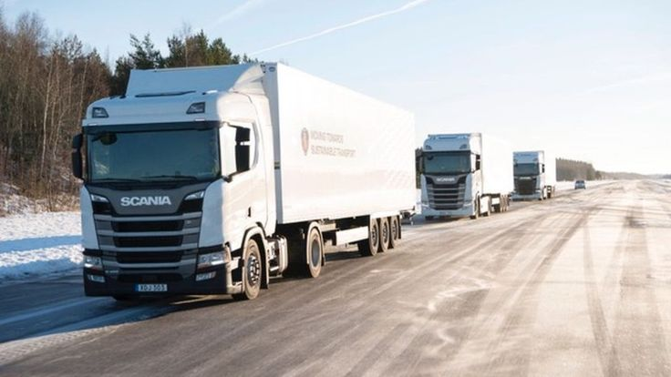 "Image copyright                  Scania             Image caption                                      Scania believes 5G could improve communications between ""platooning"" lorries                               What impact could 5G – the new high-speed mobile... - #Colliding, #Finance, #Lorries, #Selfdriving, #Stop"
