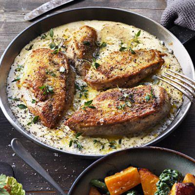 Kyckling i krämig parmesan- och timjansås