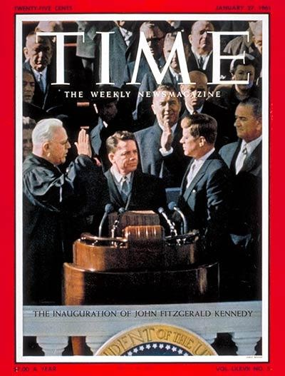 """""""Kennedy taking the oath of office as the 35th U.S. president marks first time the magazine placed a presidential inauguration on its cover."""""""