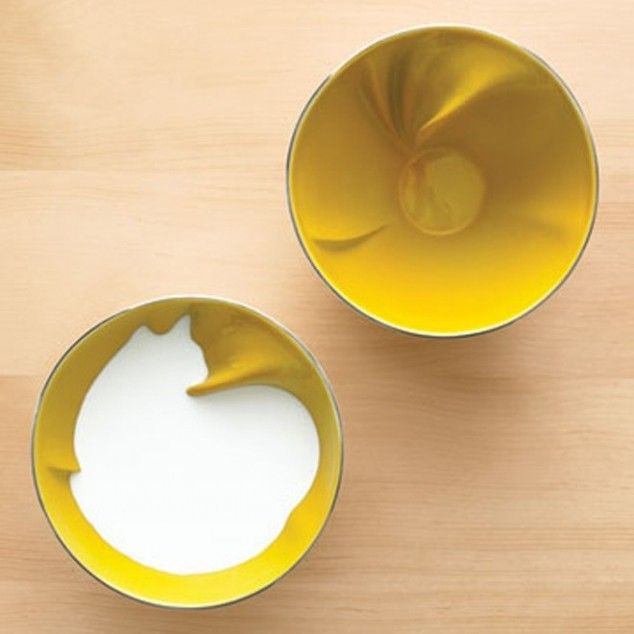 Creatively crafted bowls reveal an animal when they're filled with liquid...: Cats, Cat Bowl, Design, Bowls, Animal