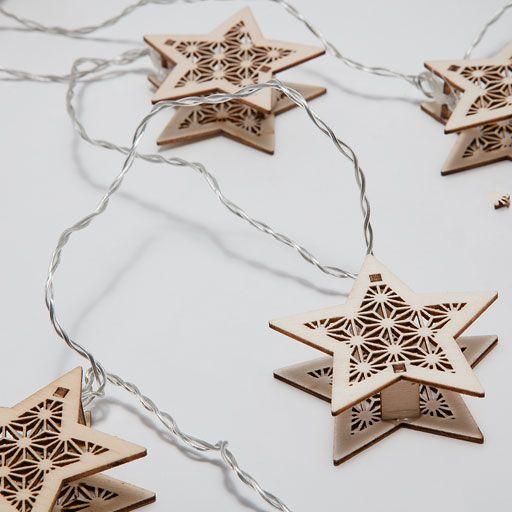 Grinalda luzes árvores estrela de madeira