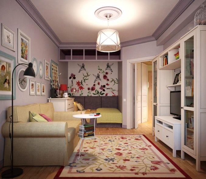 Гостиная-Спальня-Каб инет, Однокомнатная квартира для молодой девушки, гостиная, спальня, кабинет, ниша, встроенная мебель, сиреневый, икеа, ikea, просмотров 4541