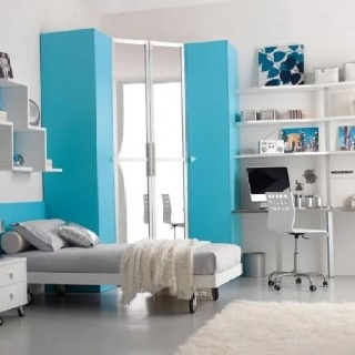 Colorful, Beautiful And Cute Furniture For Teen Room Decorating Ideas: The  Scenic Light Blue Colour As The Emphasis In Your Teen Bedroom Interior Room  ...