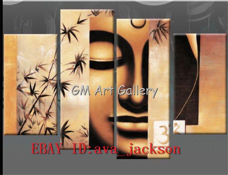 Pintura al óleo arte Moderno Abstracto Decoración de pared de tela Buda - 05, 4PC sin marco