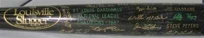 1987 CARDINALS BLACK LOUISVILLE SLUGGER H TEAM BAT . $375.00. 1987 ST. LOUIS CARDINALS BLACK LOUISVILLE SLUGGER H NATIONAL LEAGUE CHAMPIONS BAT Photo Description RARE 1987 ST. LOUIS CARDINALS BLACK LOUISVILLE SLUGGER 125 HILLERICH & BRADSBY NATIONAL LEAGUE CHAMPIONS BAT. RARE, LIMITED EDITION BAT GIVEN TO PLAYERS, COACHES AND THE MANAGER. BAT HAS PLAYERS LISTED ON IT SOME IN SCRIPT, SOME IN BLOCK LETTERING - SEE PICS. ITEM PICTURED IS ACTUAL ITEM BUYER WILL RECEIVE. CLICK ...