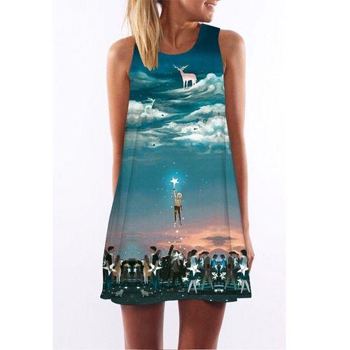 Women dress summer dress casual beach dress floral print tunic sleeveless short chiffon dress vestido de renda