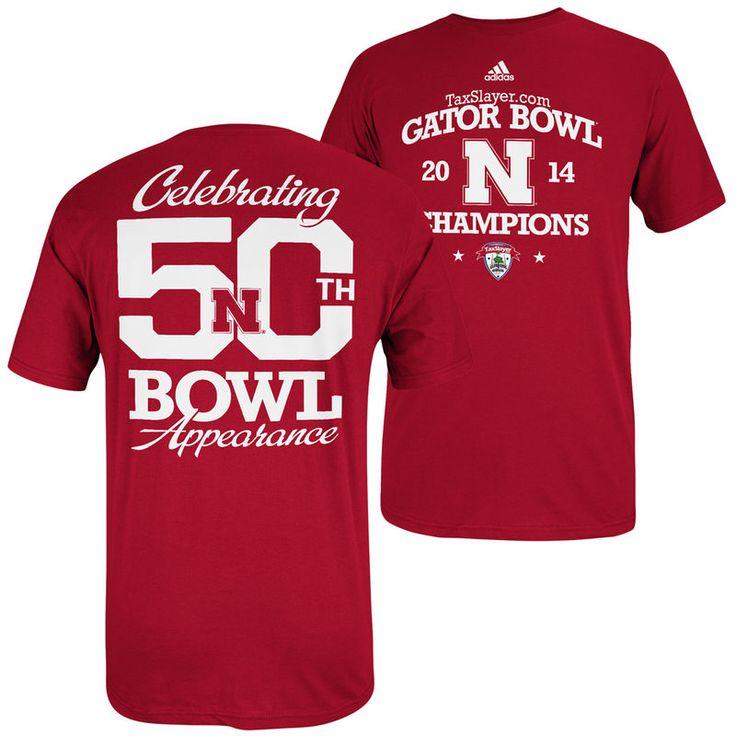 adidas Nebraska Cornhuskers 2014 Gator Bowl Champions 50 Bowls T-Shirt - Scarlet